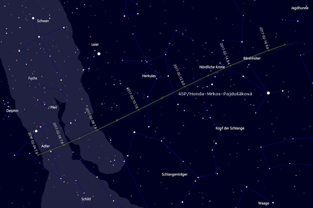 Bahn des Kometen durch die Sternbider Adler, Herkules, Nördliche Krone und Bärenhüter (Cartes du Ciel)