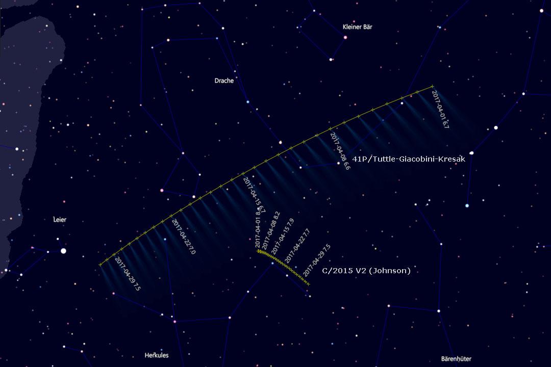 Bahn der Kometen in den Sternbildern Drache und Herkules (Cartes du Ciel)