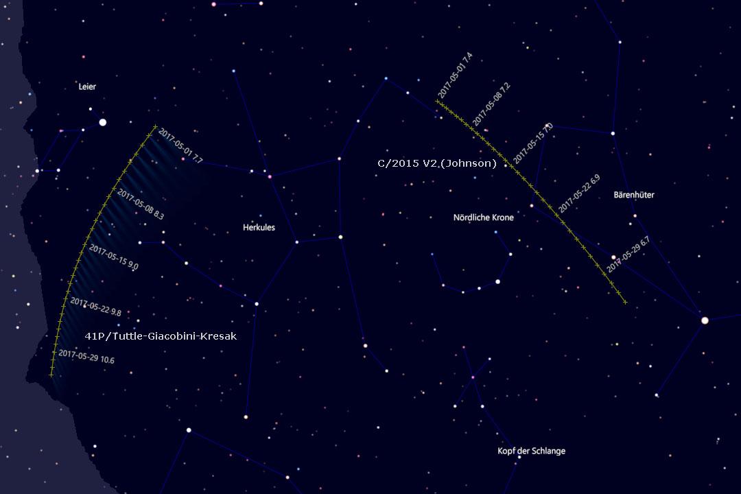 Bahn der Kometen in den Sternbildern Herkules und Bärenhüter (Cartes du Ciel)