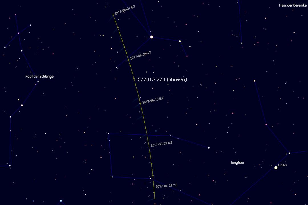Bahn des Kometen durch die Sternbider Bärenhüter und Jungfrau (Cartes du Ciel)
